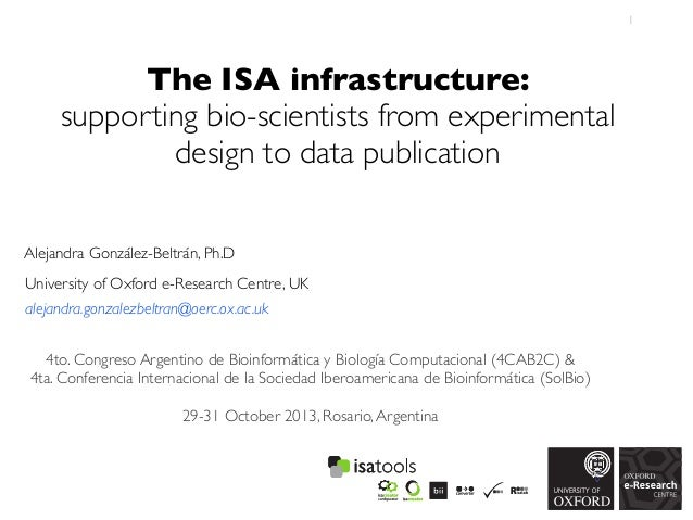 1  The ISA infrastructure: supporting bio-scientists from experimental design to data publication Alejandra González-Beltr...