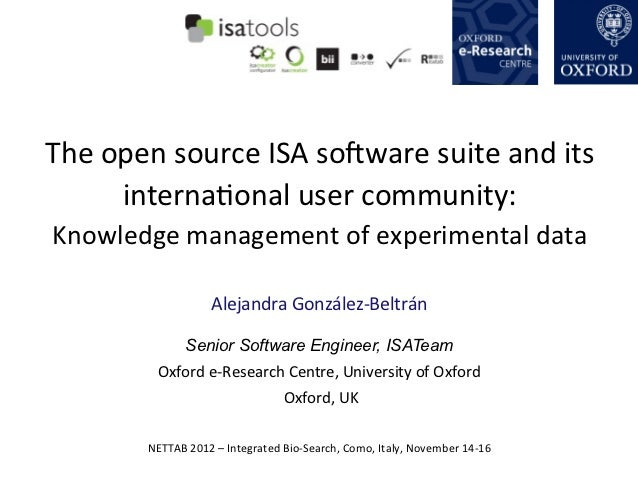 The open source ISA soOware suite and its         internaQonal user community: Knowledge managemen...