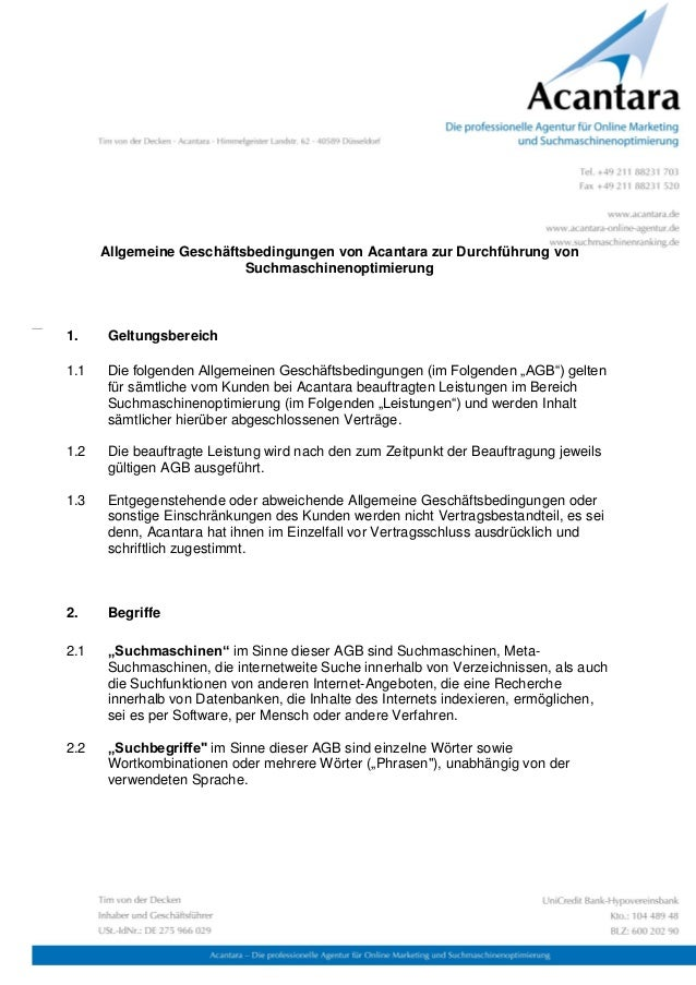 Allgemeine Geschäftsbedingungen von Acantara zur Durchführung von                          Suchmaschinenoptimierung1.    G...