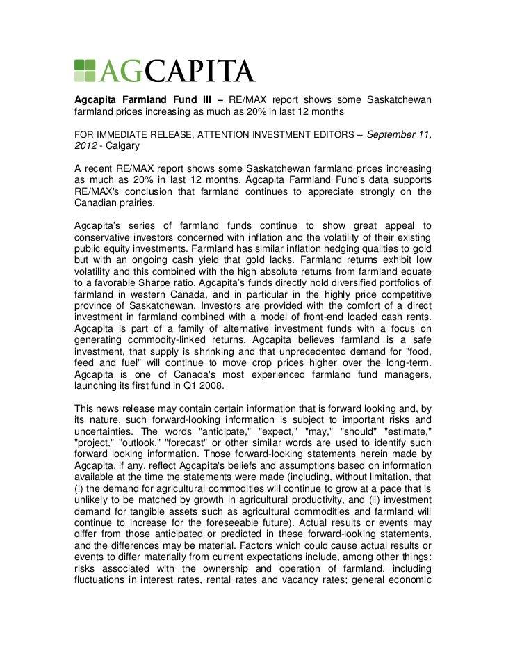 Agcapita Farmland Fund III - RE/MAX Farmland Values Report Sept 2012