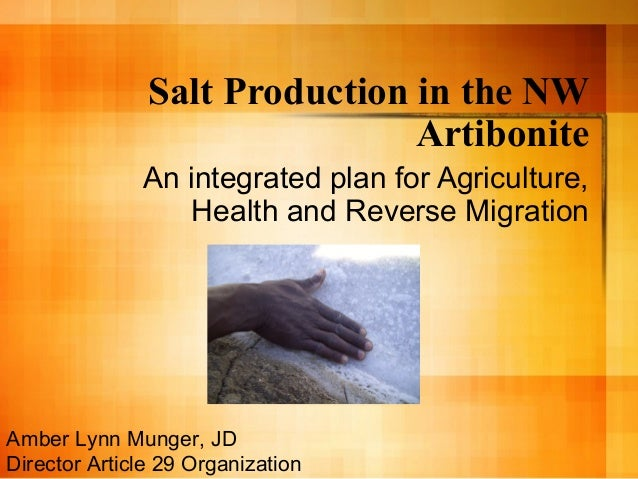 Salt Production in the NW Artibonite An integrated plan for Agriculture, Health and Reverse Migration Amber Lynn Munger, J...