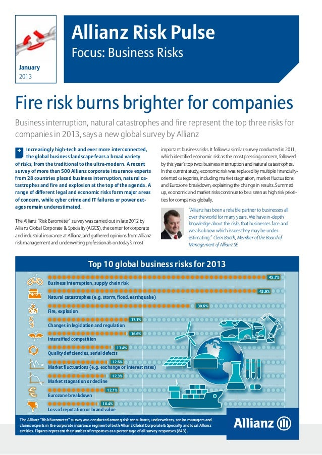 Allianz Risk Pulse                                Focus: Business Risks  January  2013Fire risk burns brighter for compani...