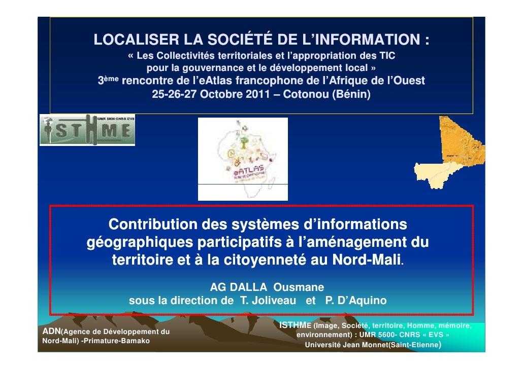 LOCALISER LA SOCIÉTÉ DE L'INFORMATION :                      « Les Collectivités territoriales et l'appropriation des TIC ...
