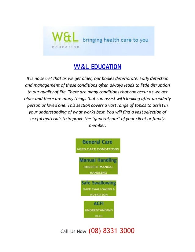 W&L EDUCATION It is no secret that as we get older, our bodies deteriorate. Early detectionand management of these conditi...