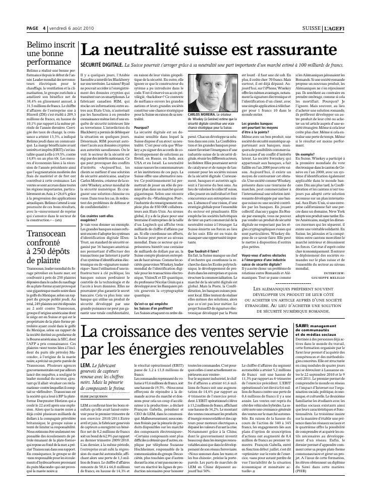 WISeKey article AGEFI (Swiss Financial Newspaper)