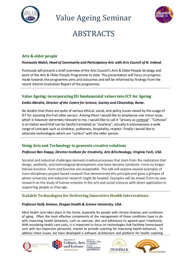 Value Ageing Seminar                                    ABSTRACTSArts & older peopleFionnuala Walsh, Head of Community and...
