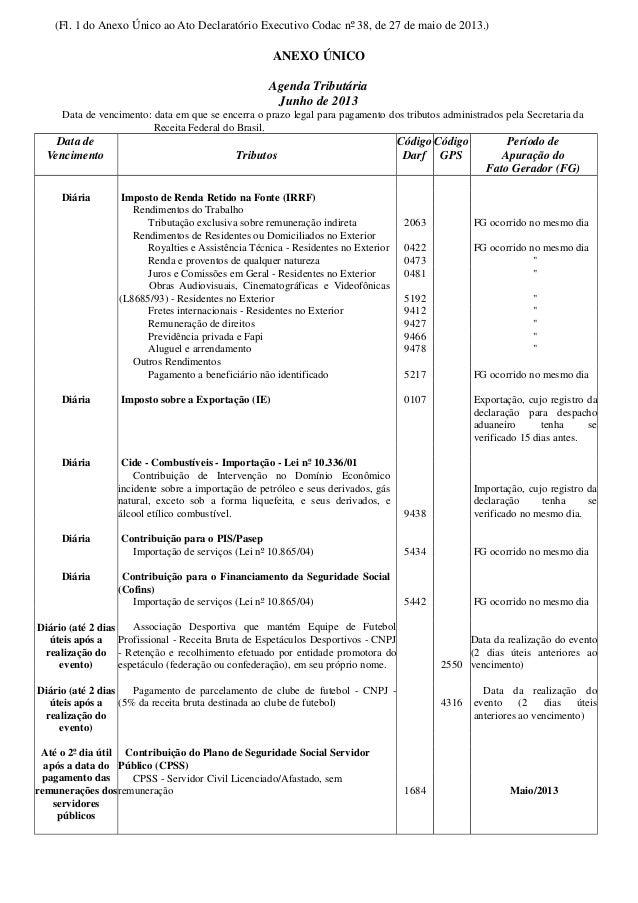 Agenda Tributária - Junho de 2013