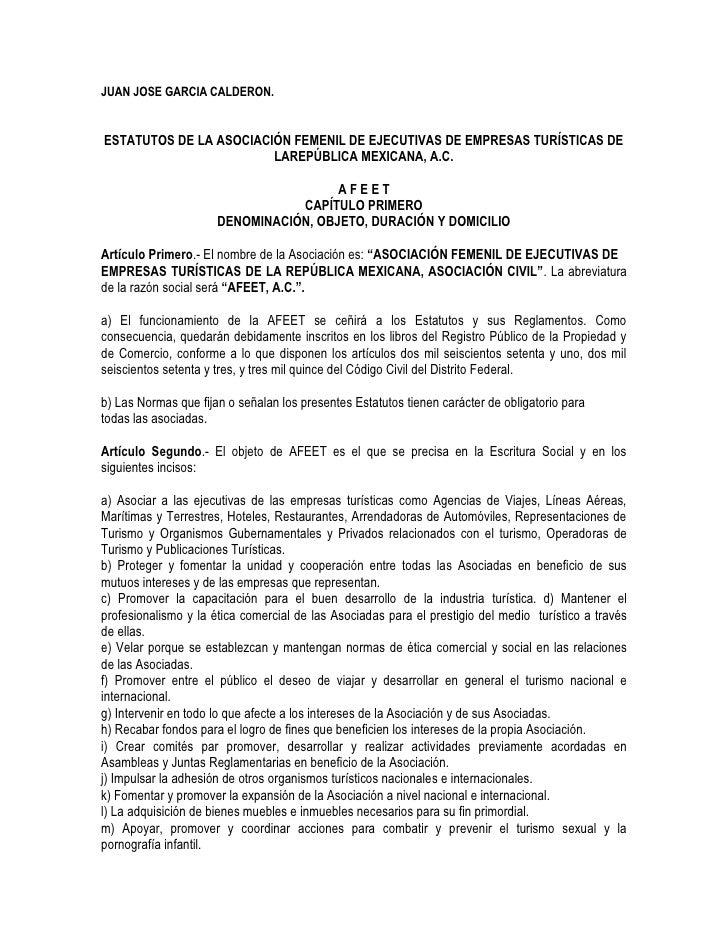 JUAN JOSE GARCIA CALDERON.ESTATUTOS DE LA ASOCIACIÓN FEMENIL DE EJECUTIVAS DE EMPRESAS TURÍSTICAS DE                      ...