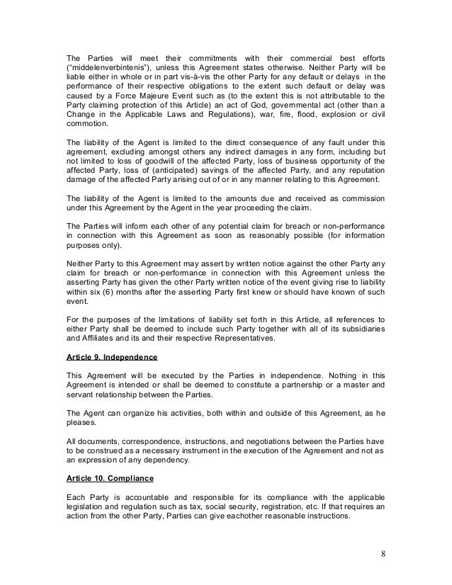 Representation agreement template 28 images agency for Manufacturers rep agreement template