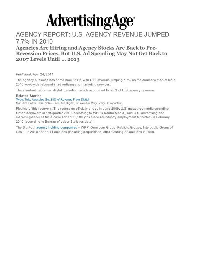 Agency Revenue Report