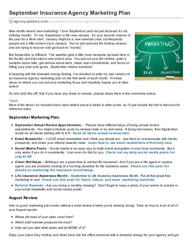 Insurance Agency September Marketing Plan
