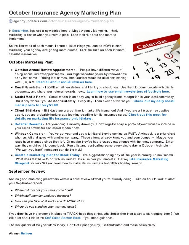 October Insurance Agency Marketing Plan