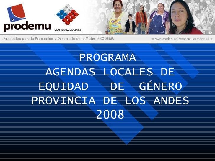 PROGRAMA AGENDAS LOCALES DE EQUIDAD  DE  GÉNERO PROVINCIA DE LOS ANDES 2008