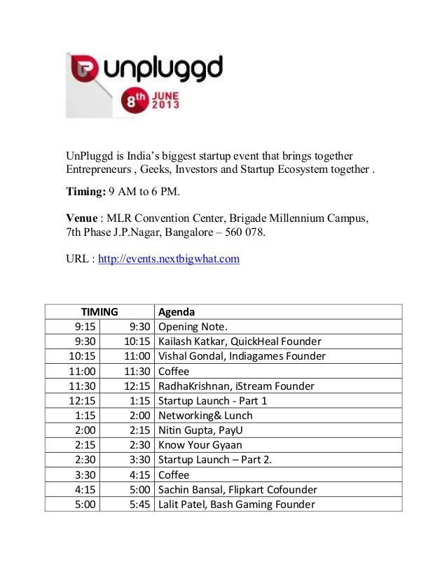 UnPluggd is India's biggest startup event that brings togetherEntrepreneurs , Geeks, Investors and Startup Ecosystem toget...