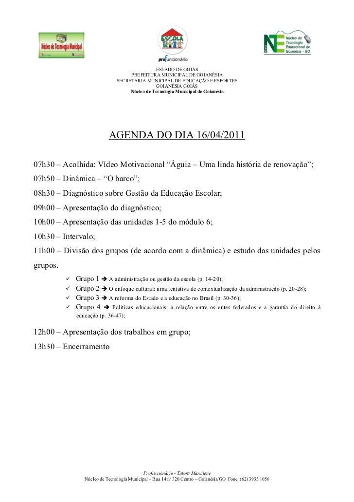 ESTADO DE GOIÁS                                   PREFEITURA MUNICIPAL DE GOIANÉSIA                              SECRETARI...