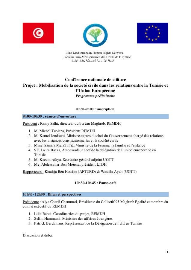 1 Euro-Mediterranean Human Rights Network Réseau Euro-Méditerranéen des Droits de l'Homme األ الشبكةوروبية-اإلنسان...