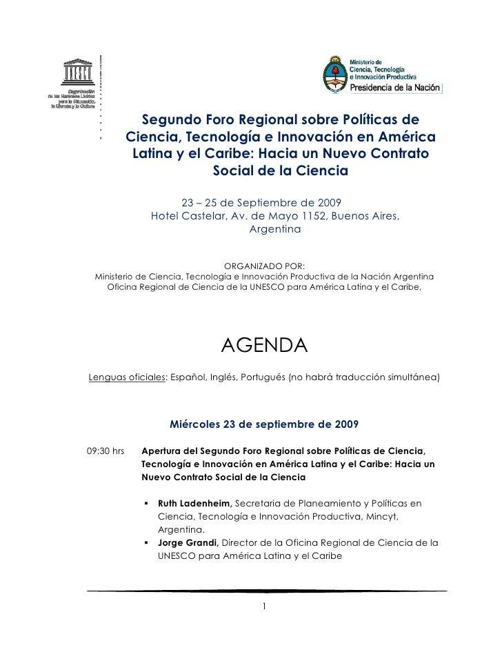 Segundo Foro Regional sobre Políticas de             Ciencia, Tecnología e Innovación en América              Latina y el ...