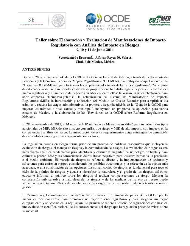 1 Taller sobre Elaboración y Evaluación de Manifestaciones de Impacto Regulatorio con Análisis de Impacto en Riesgos 9, 10...