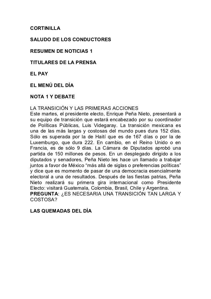 CORTINILLASALUDO DE LOS CONDUCTORESRESUMEN DE NOTICIAS 1TITULARES DE LA PRENSAEL PAYEL MENÚ DEL DÍANOTA 1 Y DEBATELA TRANS...
