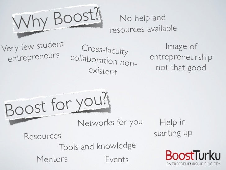 Why Boost?                  No help and                             resources available  Ver y few student   Cross-faculty...