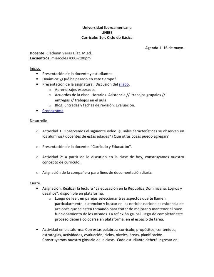 Universidad Iberoamericana                                          UNIBE                              Currículo: 1er. Cic...