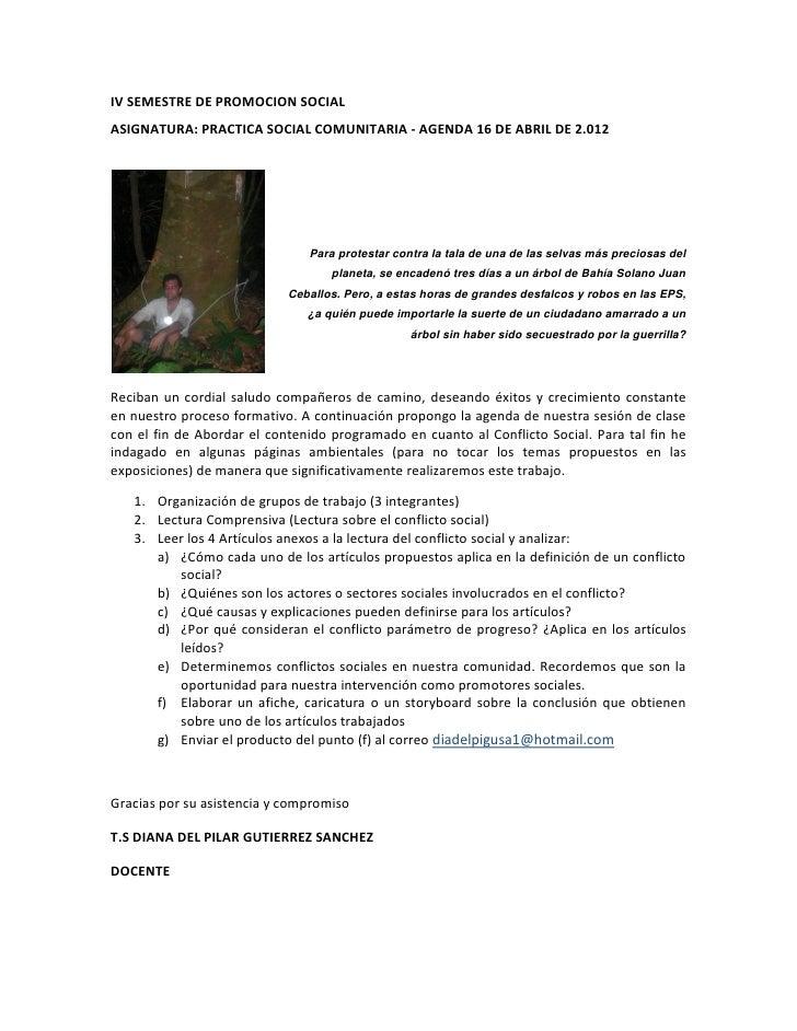 IV SEMESTRE DE PROMOCION SOCIALASIGNATURA: PRACTICA SOCIAL COMUNITARIA - AGENDA 16 DE ABRIL DE 2.012                      ...