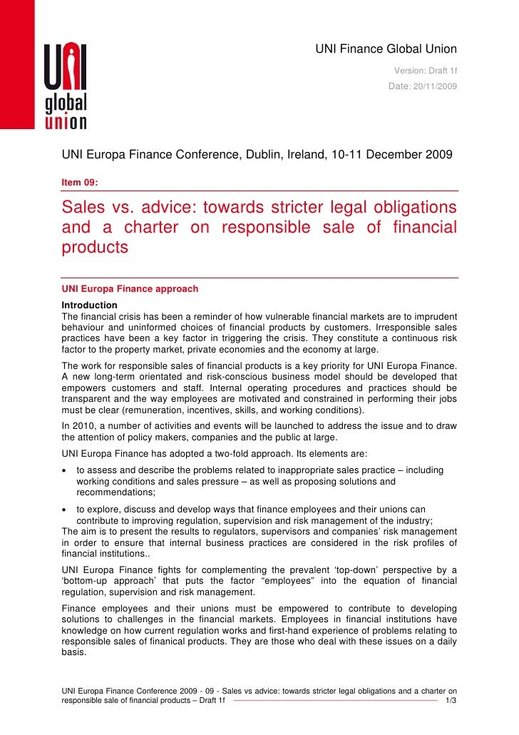Sales vs. advice: towards stricter legal obligations