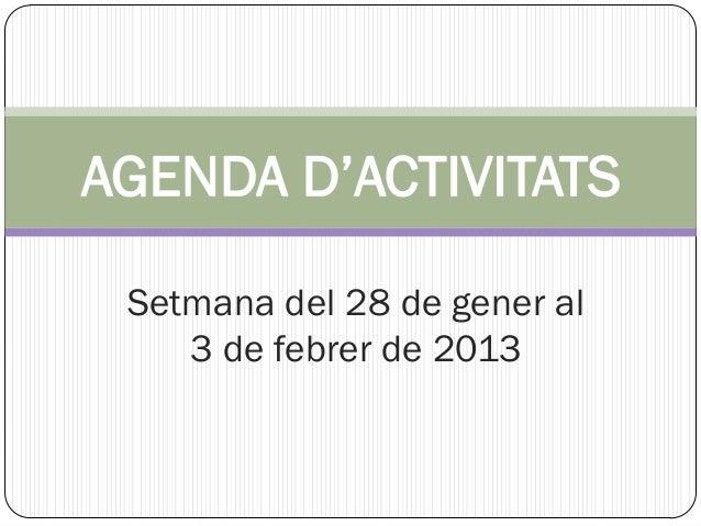 AGENDA D'ACTIVITATS Setmana del 28 de gener al    3 de febrer de 2013