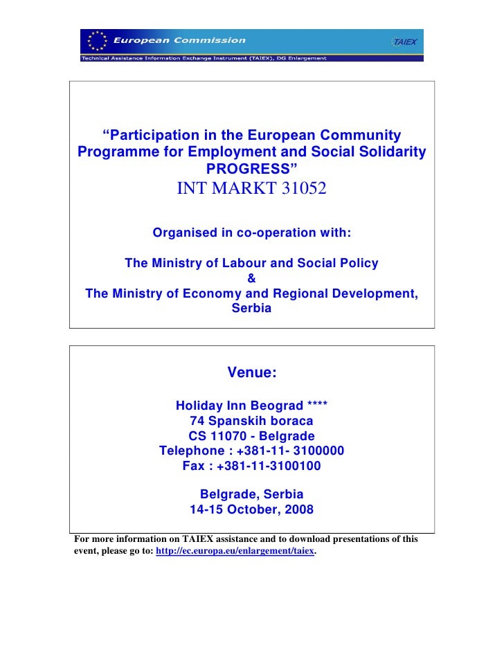 """Participation in the European Community Programme for Employment and Social Solidarity                    PROGRESS""      ..."
