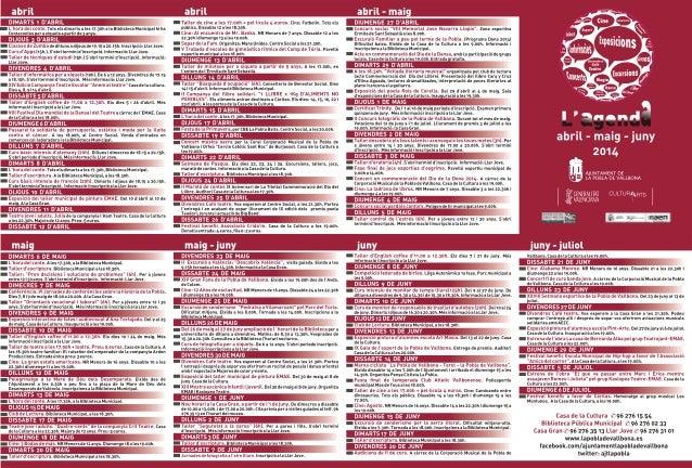 Agenda abril juny 2014 de la Pobla de Vallbona