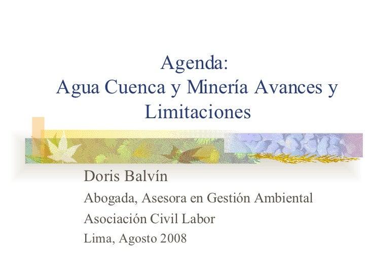 Agenda:  Agua Cuenca y Minería Avances y Limitaciones Doris Balvín Abogada, Asesora en Gestión Ambiental  Asociación Civil...