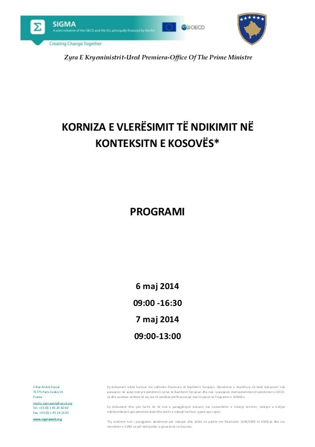 Agenda impact assessment framework in the Kosovo context Albanian 6 and 7 May 2014