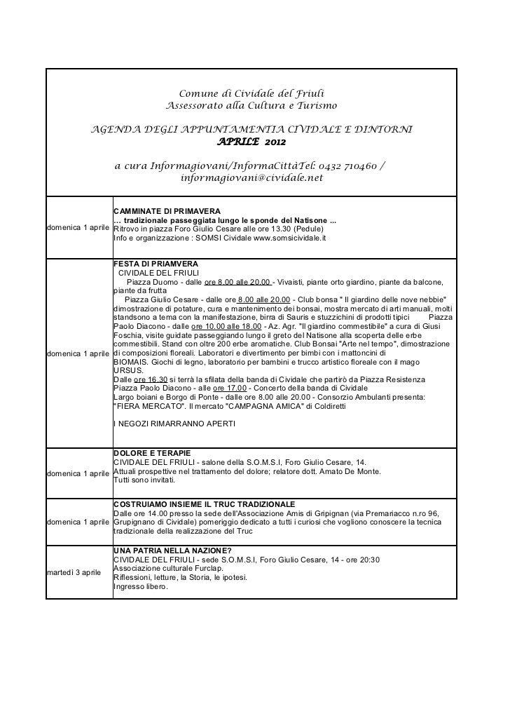 Cividale e dintorni / Agenda appuntamenti Aprile 2012.