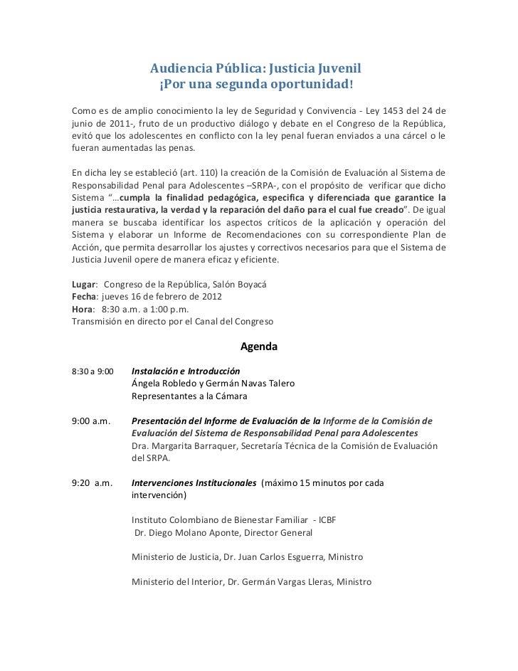 AudienciaPública: JusticiaJuvenil¡ Porunasegundaoportunidad!