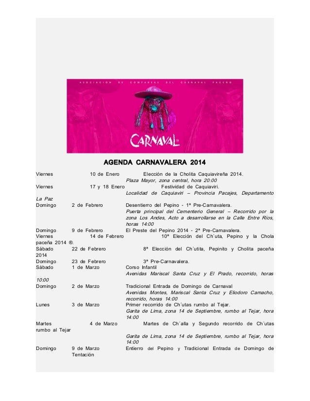 Agenda carnaval paceño 2014