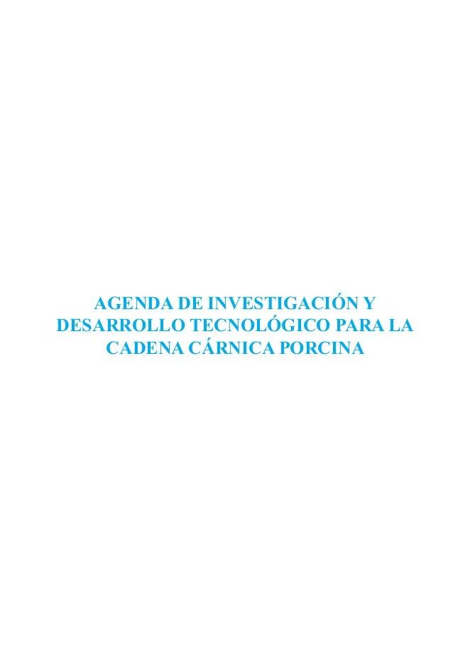 AGENDA DE INVESTIGACIÓN Y DESARROLLO TECNOLÓGICO PARA LA CADENA CÁRNICA PORCINA