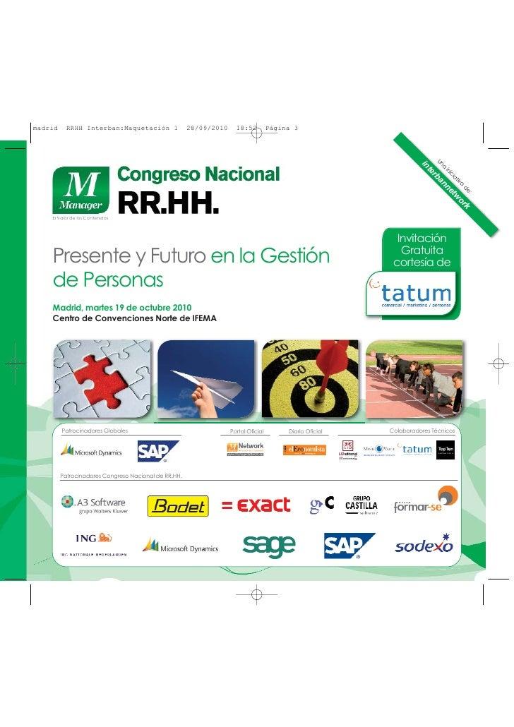 Agenda Congreso Nacional RRHH, Madrid, 19 de octubre