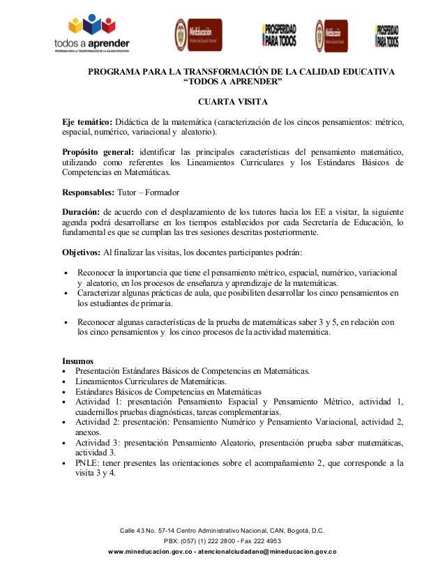 """PROGRAMA PARA LA TRANSFORMACIÓN DE LA CALIDAD EDUCATIVA """"TODOS A APRENDER"""" CUARTA VISITA Eje temático: Didáctica de la mat..."""