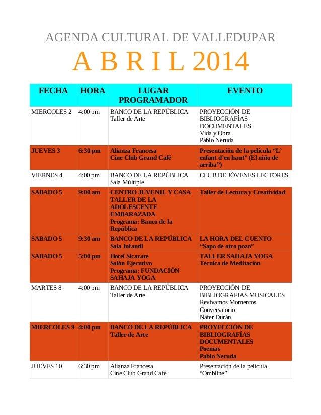 Agenda Cultural de Valledupar : Abril 2014