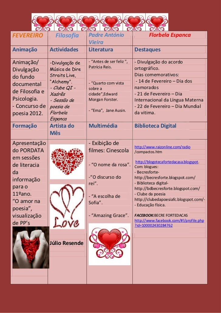 Agenda cultural fevereiro