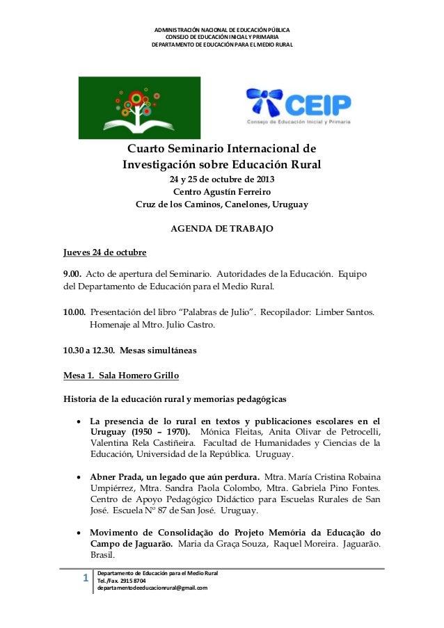 ADMINISTRACIÓN NACIONAL DE EDUCACIÓN PÚBLICA CONSEJO DE EDUCACIÓN INICIAL Y PRIMARIA DEPARTAMENTO DE EDUCACIÓN PARA EL MED...