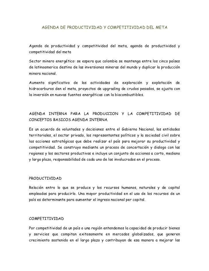 AGENDA DE PRODUCTIVIDAD Y COMPETITIVIDAD DEL META<br />Agenda de productividad y competitividad del meta, agenda de produc...