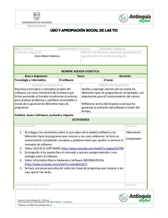 USO Y APROPIACIÓN SOCIAL DE LAS TICPaís: Colombia                    Departamento: Antioquia       Municipio: HispaniaInst...