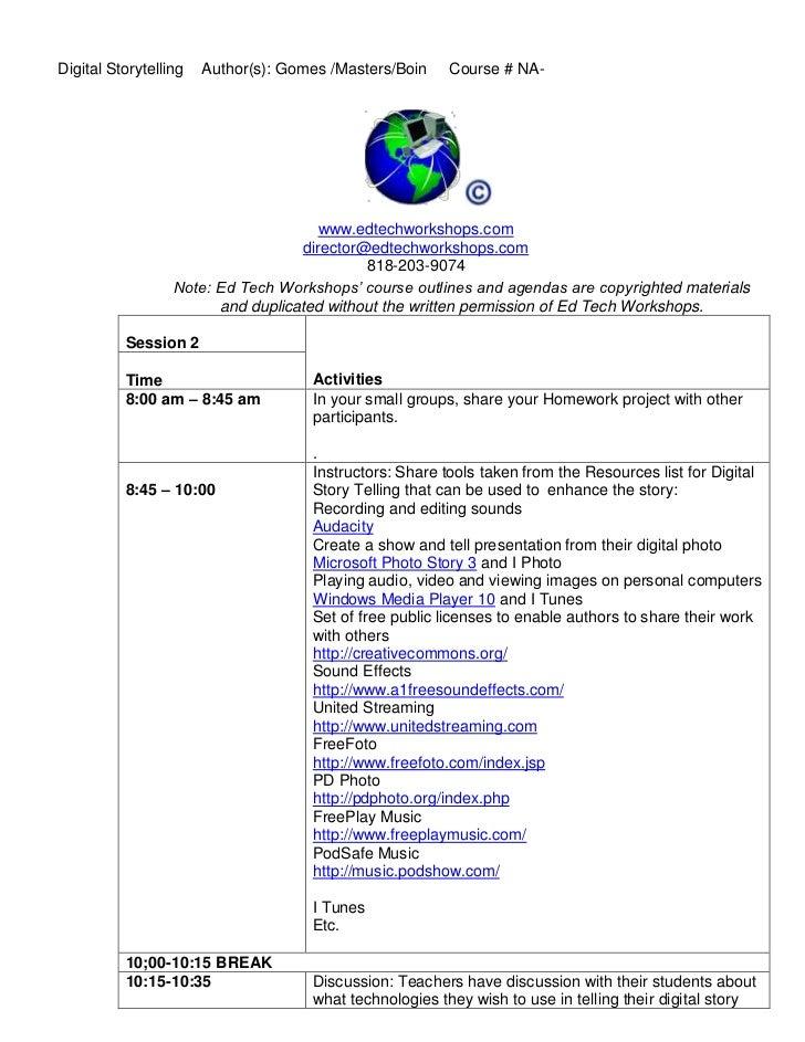 Agenda digital story telling day 2 revised