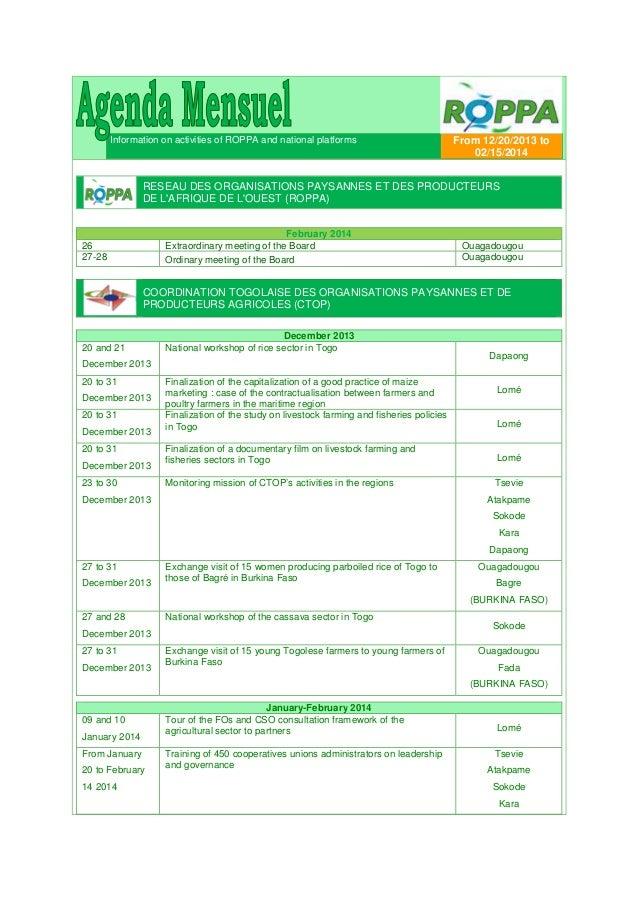 Information on activities of ROPPA and national platforms  From 12/20/2013 to 02/15/2014  RESEAU DES ORGANISATIONS PAYSANN...