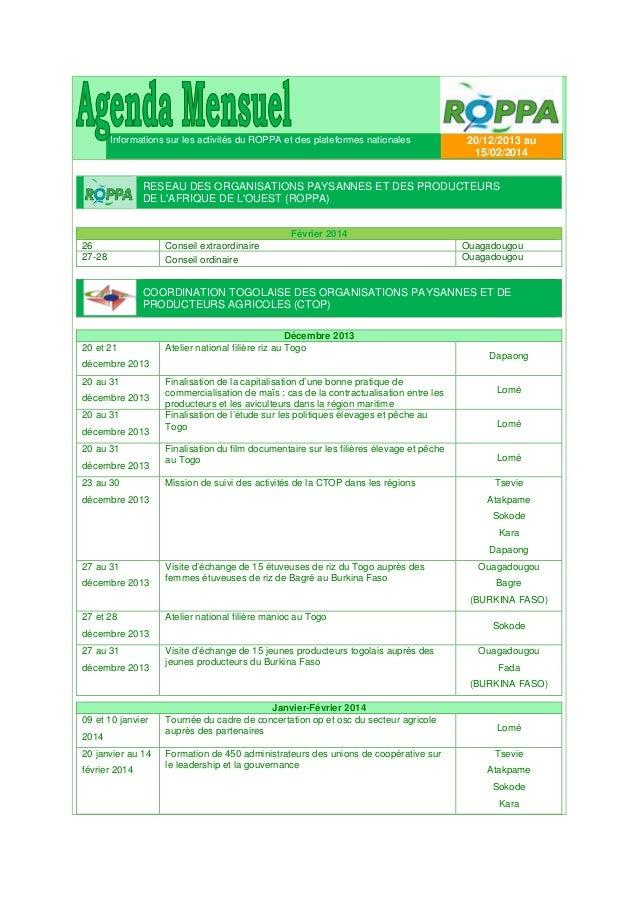 Informations sur les activités du ROPPA et des plateformes nationales  20/12/2013 au 15/02/2014  RESEAU DES ORGANISATIONS ...