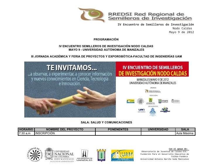 Agenda encuentro departamental  de semilleros caldas mayo 9 uam por salas