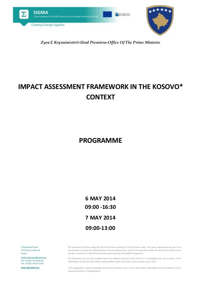 Agenda impact assessment framework in the Kosovo context English 6 and 7 May 2014