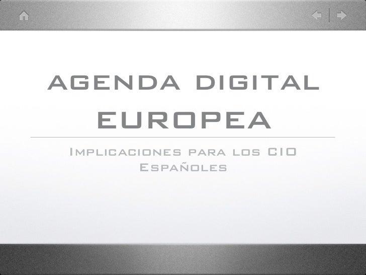 Agenda Evento CIOnet - Agenda Digital europea