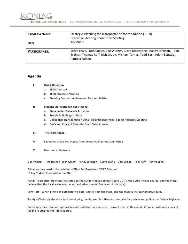 Program Name:Date:Strategic  Planning for Transportation for the Nation (TFTN) Executive Steering Committee Meeting10/19/1...